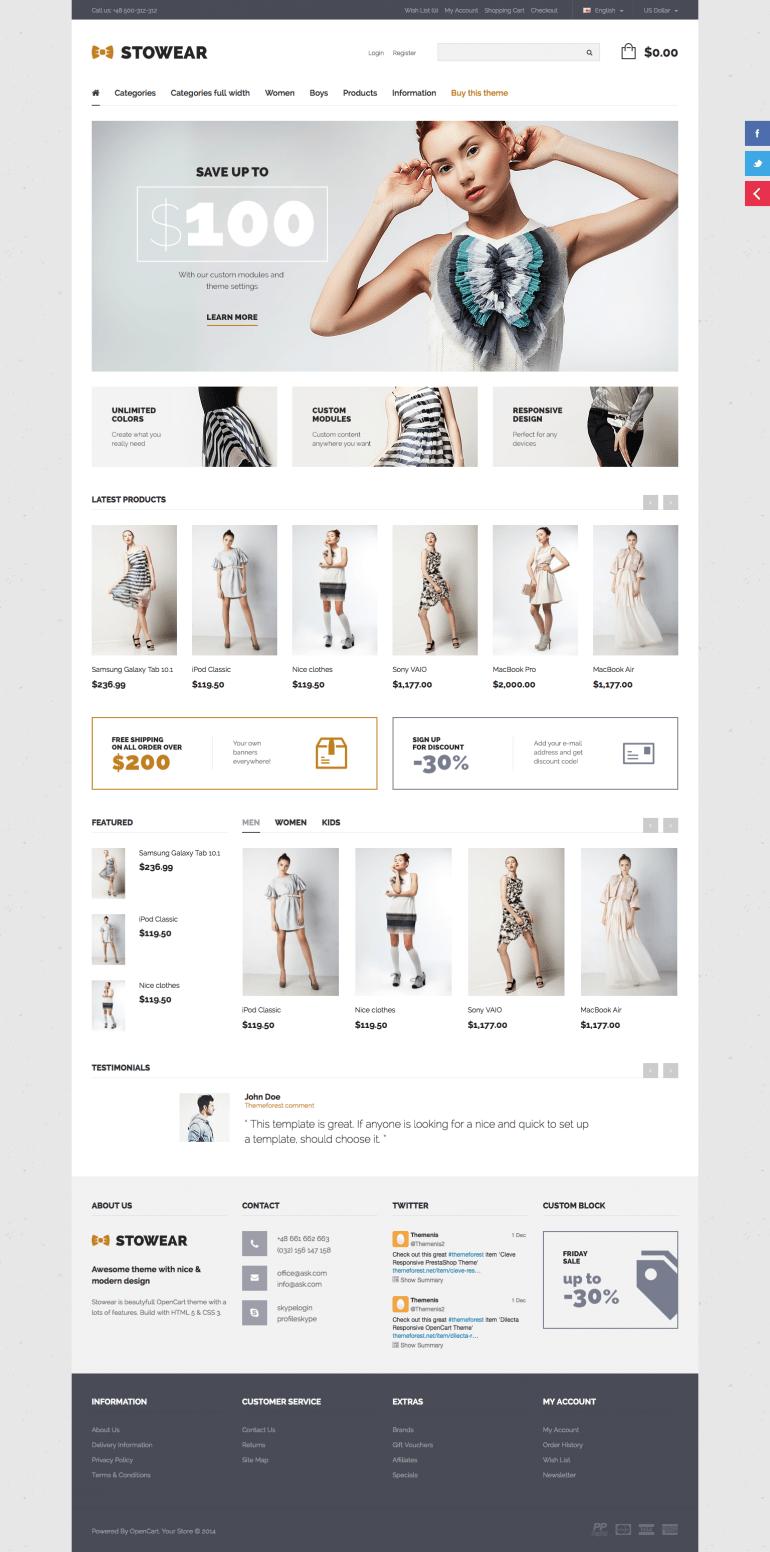 Stowear – Modern & Responsive OpenCart Theme
