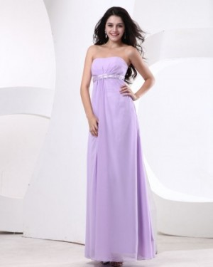 Strapless Lilac Chiffon Bridesmaid Dress(BT45564)