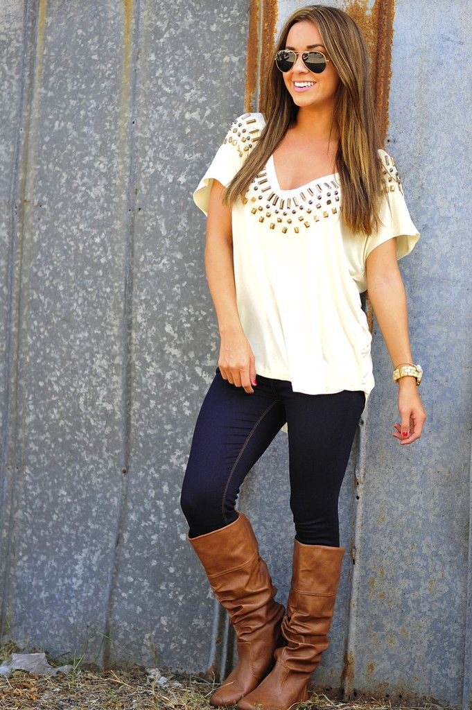 Studded With Comfort Top: Ivory | fashion | Pinterest
