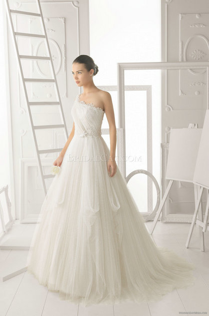 style 335.00 – Aire Barcelona 108 Obsesion Wedding Gown,ruched neckline is accented with c ...