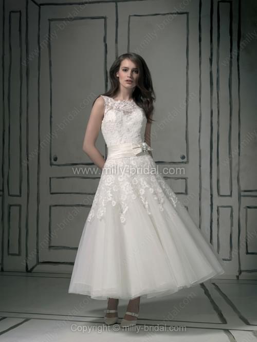 A-line Bateau Organza Satin Ankle-length Appliques Wedding Dresses