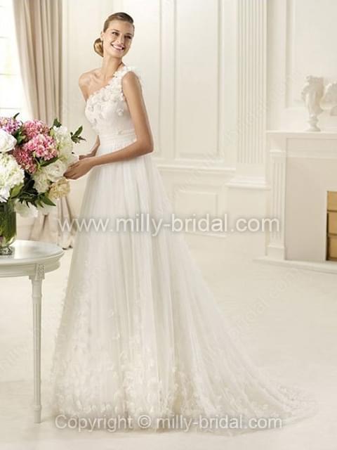 A-line One Shoulder Tulle Sweep Train Appliques Wedding Dresses