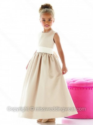 A-line Scoop Satin Ankle-length Sashes / Ribbons Flower Girl Dresses