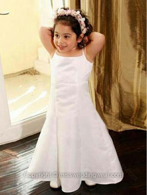 A-line Spaghetti Straps Satin Ankle-length Draped Flower Girl Dresses