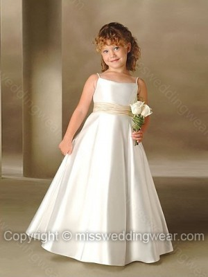 A-line Spaghetti Straps Taffeta Floor-length Sashes / Ribbons Flower Girl Dresses