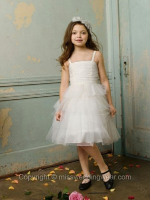 A-line Spaghetti Straps Tulle Knee-length Tiered Flower Girl Dresses