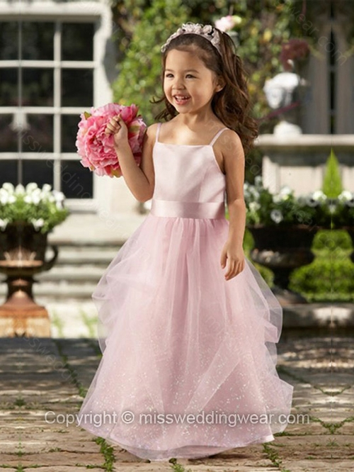 A-line Spaghetti Straps Tulle Satin Floor-length Sashes / Ribbons Flower Girl Dresses