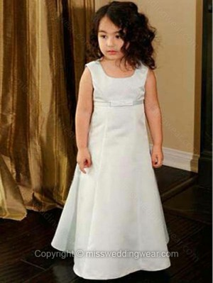 A-line Square Satin Floor-length Bow Flower Girl Dresses