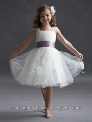 A-line Square Tulle Knee-length Sashes / Ribbons Flower Girl Dresses