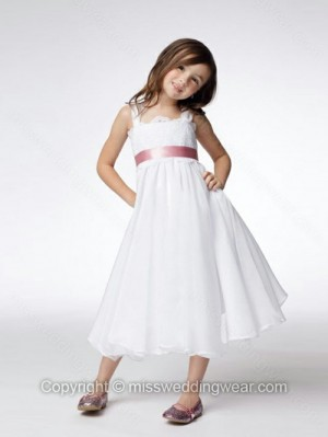 A-line Straps Chiffon Tea-length Lace Flower Girl Dresses
