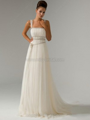 A-line Straps Tulle Sweep Train Pearl Detailing Wedding Dresses