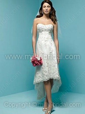 A-line Sweetheart Lace Satin Asymmetrical Appliques Wedding Dresses