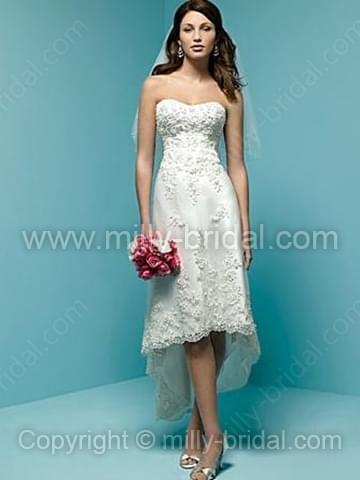 A-line Sweetheart Lace Satin Asymmetrical Appliques Wedding Dresses