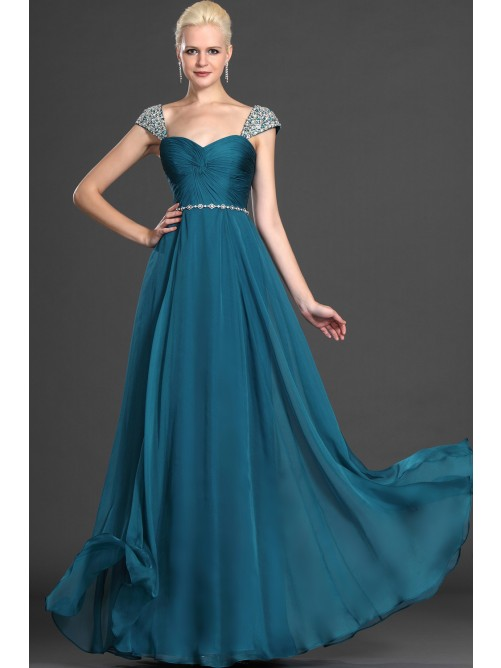 A-Line/Princess Sleeveless Off-the-Shoulder Sweetheart Chiffon Dress