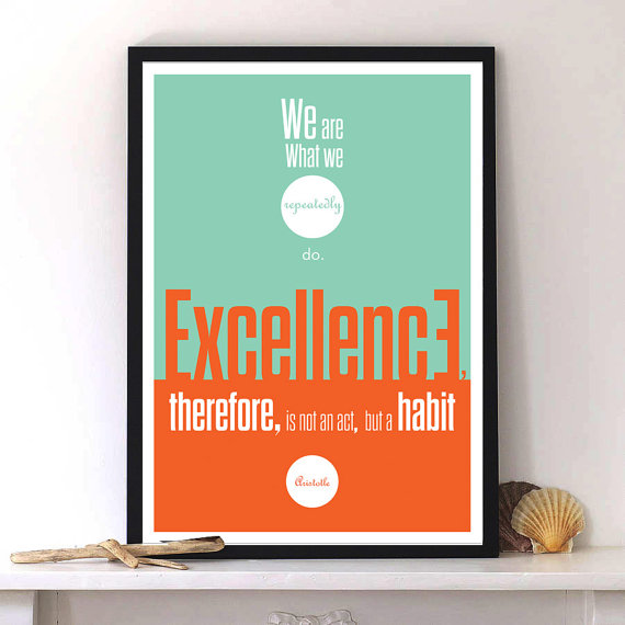 Aristotle Quote with inspirational typography print  by Lab No. 4