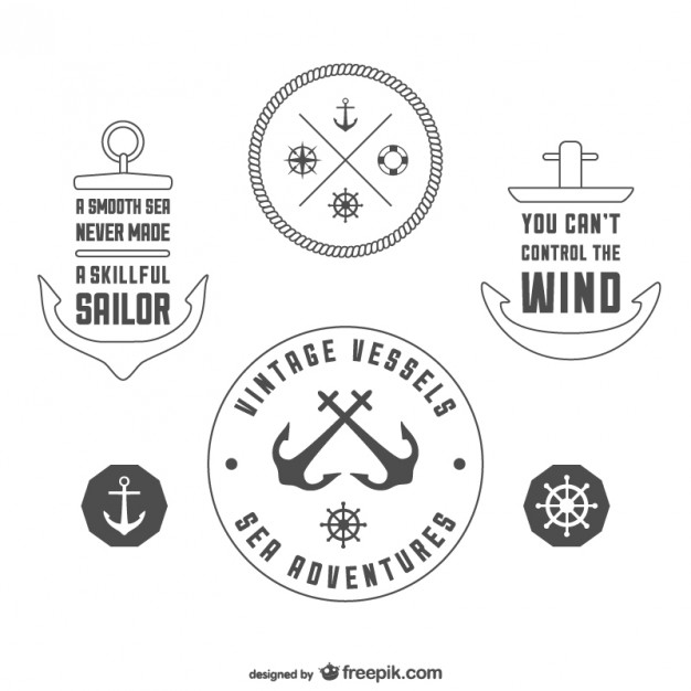 Vintage nautical badges template