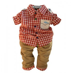Baby Gentleman Plaid Suit Baby Boy Clothing Set