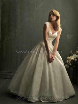 Ball Gown Off-the-shoulder Taffeta Floor-length Appliques Wedding Dresses