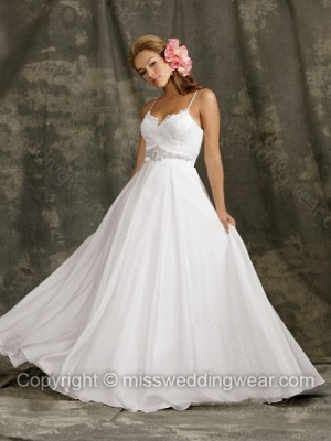 Ball Gown Spaghetti Straps Chiffon Floor-length White Beading Wedding Dresses