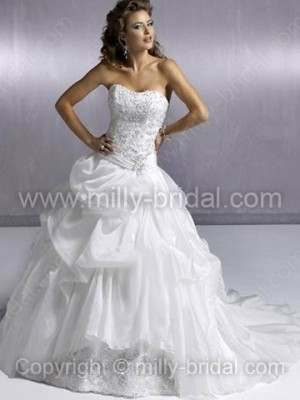 Ball Gown Sweetheart Organza Satin Court Train Pick-Ups Wedding Dresses