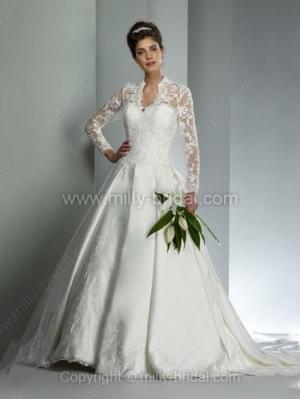 Ball Gown V-neck Satin Court Train Appliques Wedding Dresses