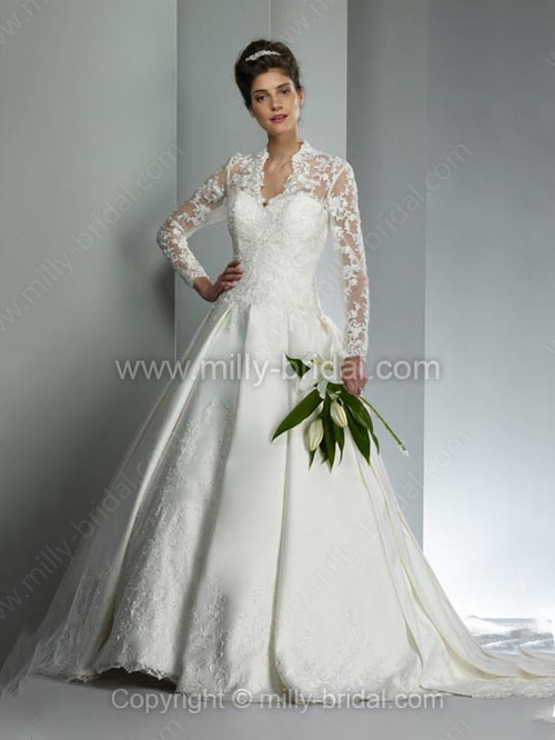 Ball Gown V-neck Satin Court Train Appliques Wedding Dresses
