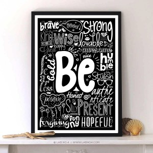 Be Words Typography On Motivational Quotes Print Poster For Home Decor