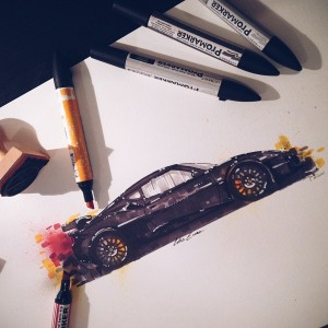 Beautiful Illustrations Of Sports Cars Created With Marker Pens