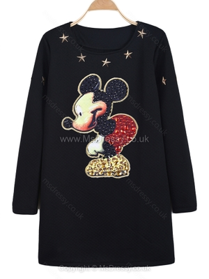 Black Long Sleeve Bead Mickey Print Dress for HPL – Msdressy.co.uk