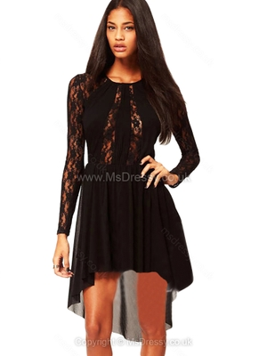 Black Long Sleeve Sheer High Low Lace Dress for HPL – Msdressy.co.uk