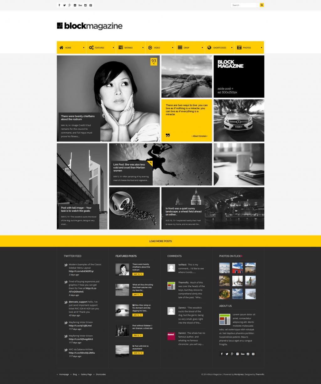 Block Magazine is fresh WordPress blog theme with masonry and fully responsive layout.   Theme i ...