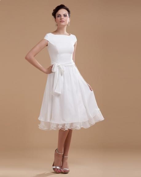 Boat Neck Chiffon Sash Short Dress | WeddingDressBee