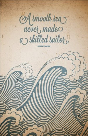 Canvas Quote Art  A smooth sea never made a skilled by PinQuotes