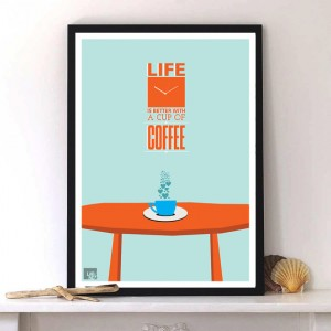 A Quote on Coffee,typography print,Modern art design with motivational slang by LabNo4