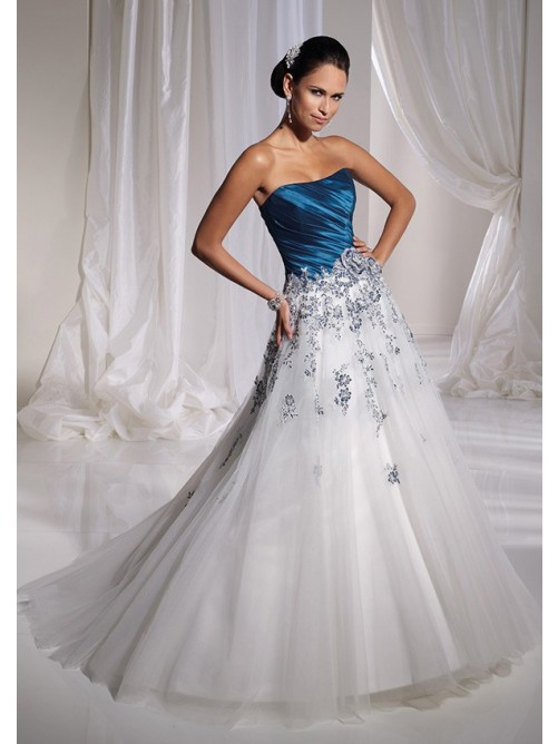 A-Line Strapless Royal Blue Bodice White Organza Skirt With Appliqued Wedding Dresses