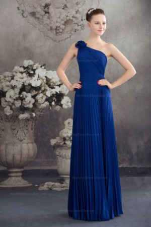 Elegant Fully Pleats One Shoulder Chiffon Dress With Hand Made Flower   | WeddingDressBee