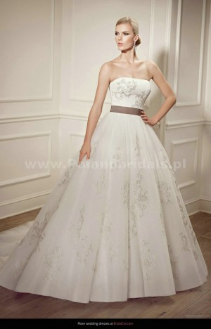 style 358.00 – Elianna Moore EM 1226 Wedding Gown,The halter neckline is ruched and edged  ...