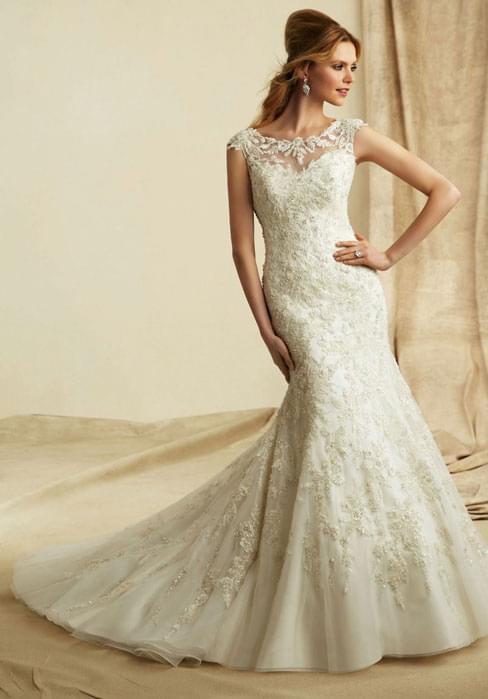 embroidered sweetheart appliques net wedding dress – gotodressau.com