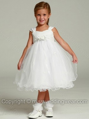 Empire Straps Organza Knee-length Flower(s) Flower Girl Dresses