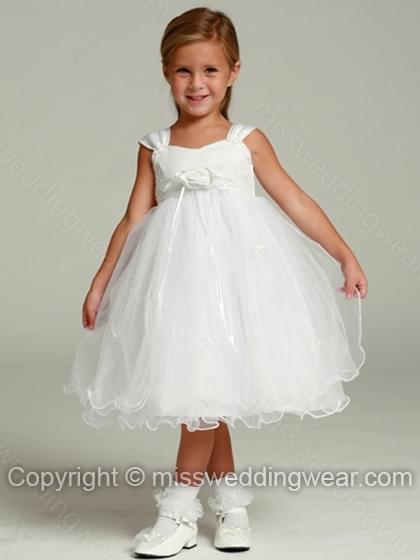 Empire Straps Organza Knee-length Flower(s) Flower Girl Dresses
