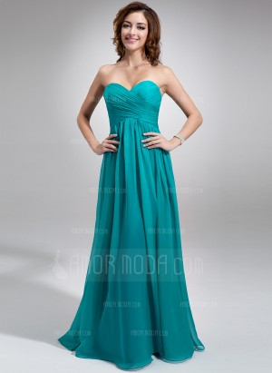 Empire Sweetheart Floor-Length Chiffon Bridesmaid Dress With Ruffle (007016755) – besthochzeit