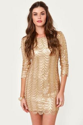 Fancy Gold Dress – Sequin Dress – Cocktail Dress