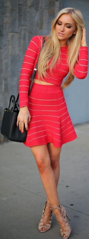Fashion Passion: Little Stripes Red Cute Dress