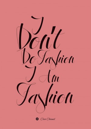 Coco Chanel Fashion Quote, Typography Poster on Stretched Canvas by Lab No. 4