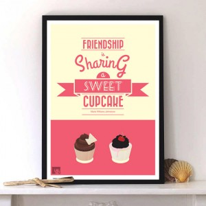 Friendship & Cupcake quote with Typography,modern artwork by Lab No. 4
