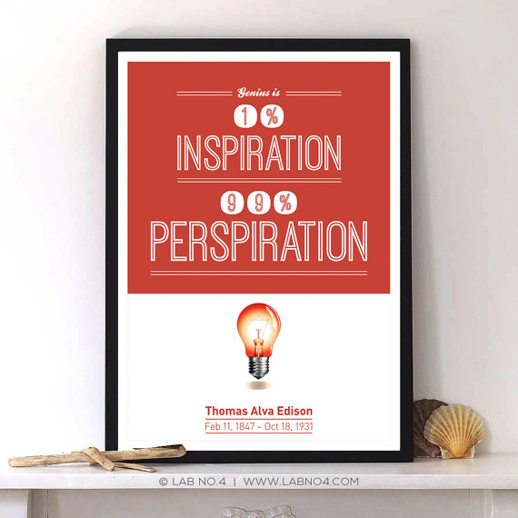 A Thomas Alva Edison Quote with Modern Typography print by Lab No. 4