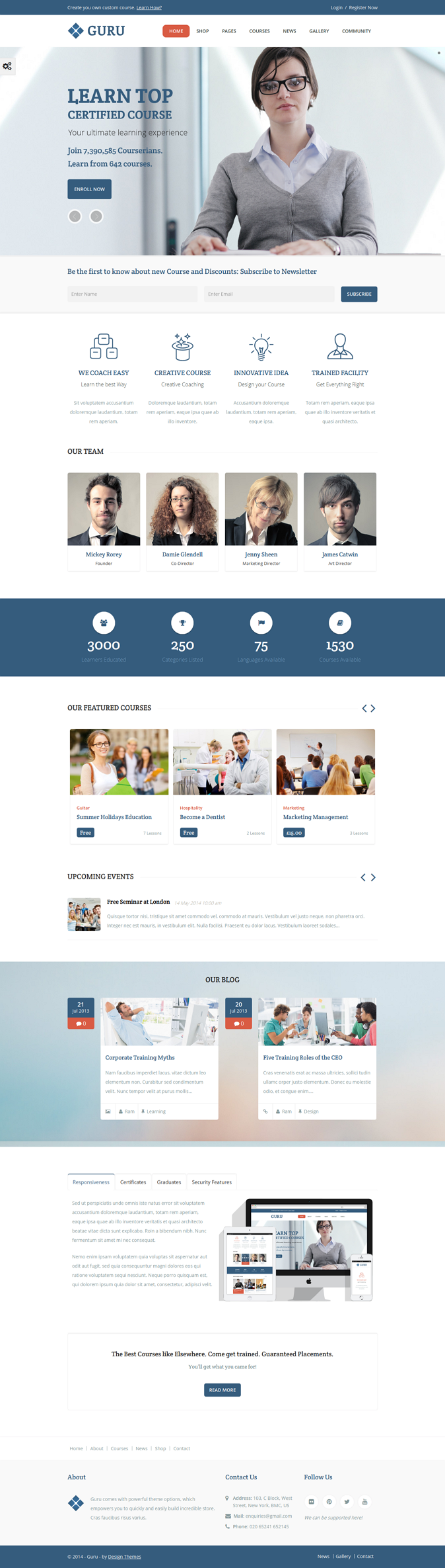 Guru is a powerful learning management (LMS) WordPress Theme effectively uses WordPress, Sensei, ...