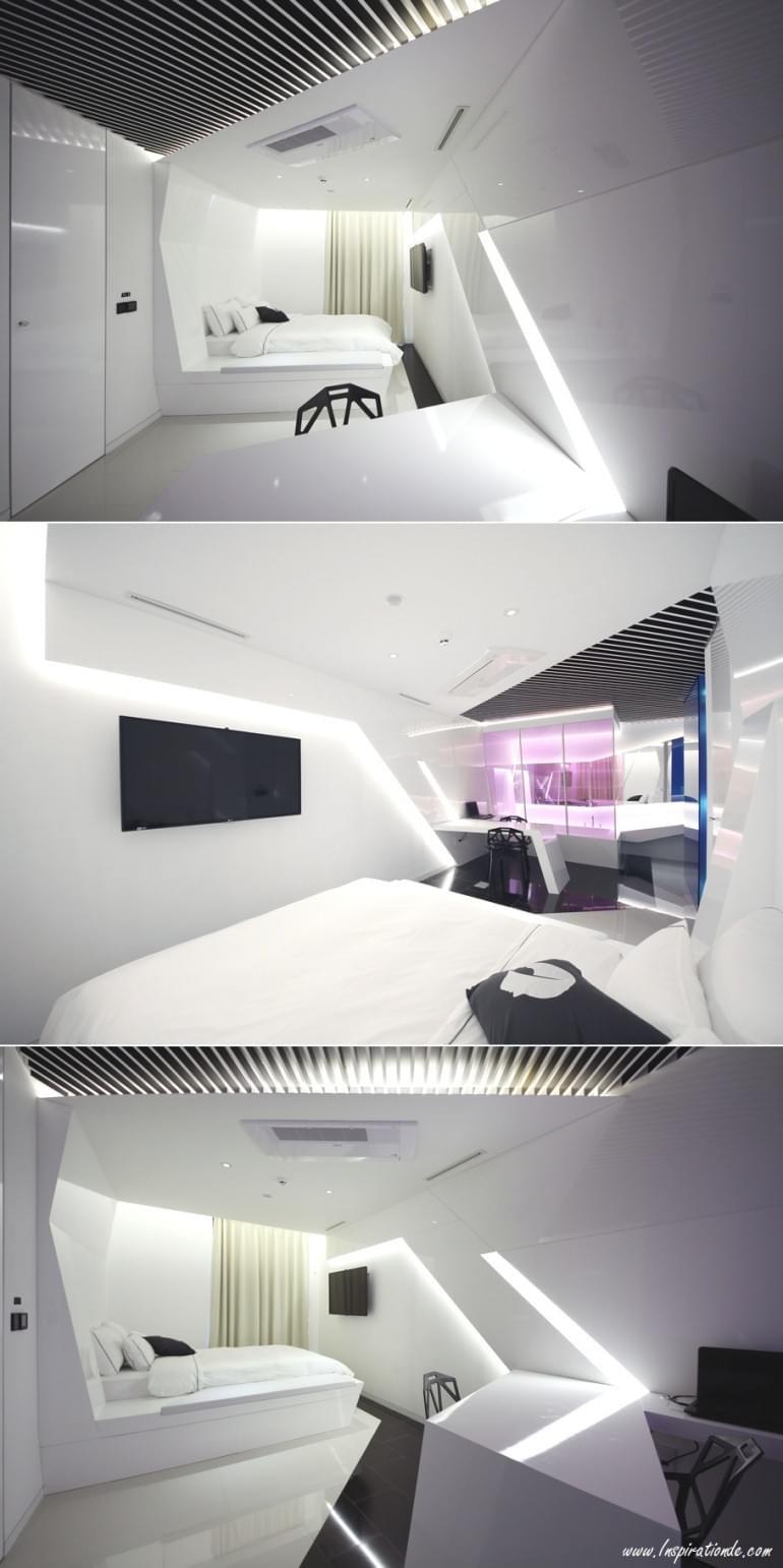 Crystal Inspired Minimal Hotel Room, South Korea | adelto.co.uk