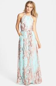 Jessica Simpson Print Chiffon Halter Maxi Dress | Hukkster
