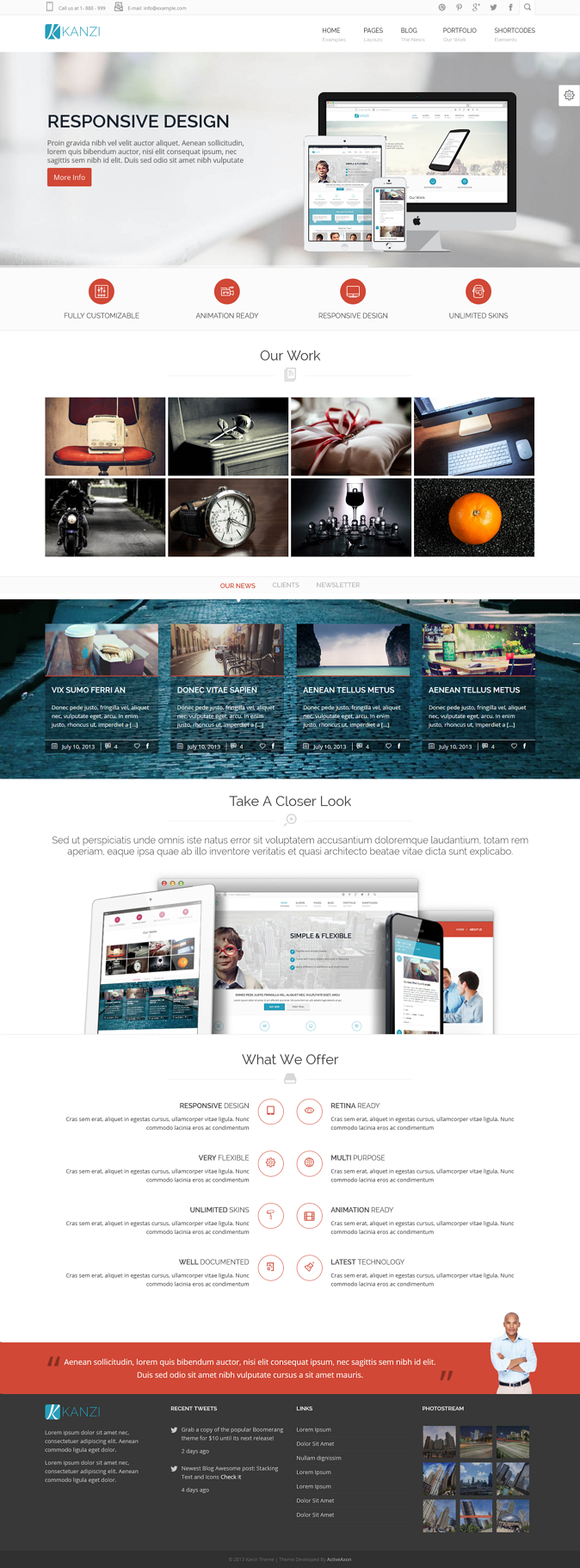 Kanzi is Clean, Flexible, Responsive & Retina ready Multipurpose HTML5/CSS3 Template.